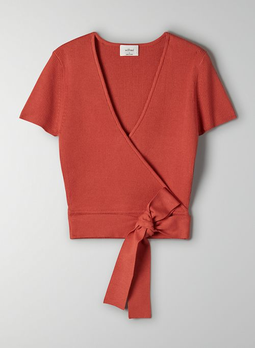 ALL TIED UP SWEATER - Short-sleeve wrap sweater