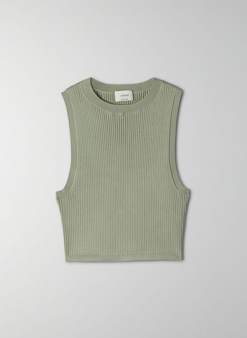 RESO SWEATER - Cropped, rib-knit, crew-neck tank