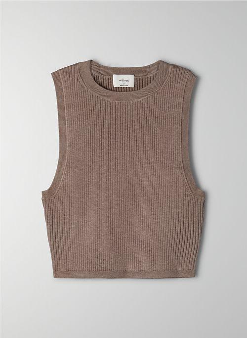 RESO SWEATER - Cropped, rib-knit, crew-neck tank