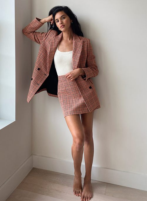 MARGAUX BLAZER - Double-breasted, plaid blazer
