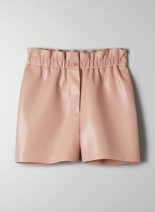 SPEECHLESS SHORT - Faux leather paperbag shorts