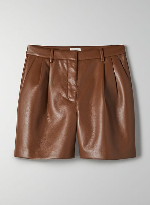 "LIMERICK SHORT 5"" - High-waisted, Vegan Leather shorts"