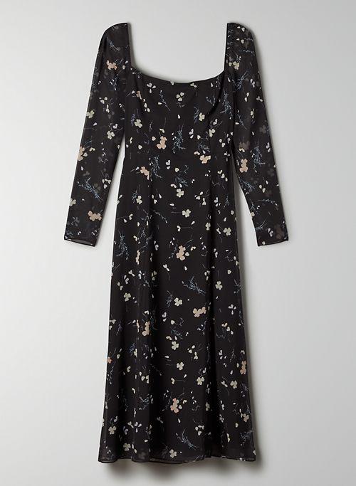 MENCIA DRESS - Square-neck midi slit dress