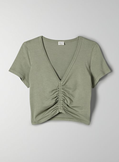 LEVANT T-SHIRT - Cropped, ruched t-shirt