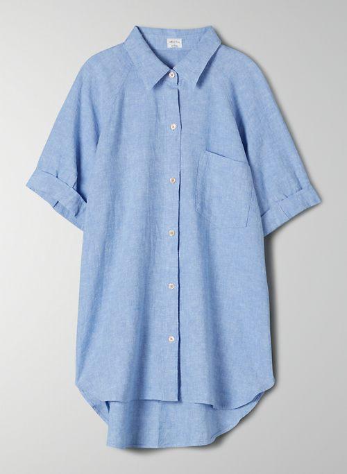 BOYFRIEND SHORTSLEEVE BUTTON-UP - Linen button-up shirt