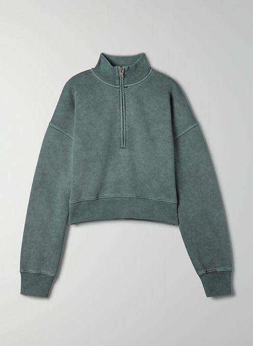 FREE FLEECE 1/2 ZIP SWEATSHIRT - Boxy-fit, half-zip mock-neck sweatshirt