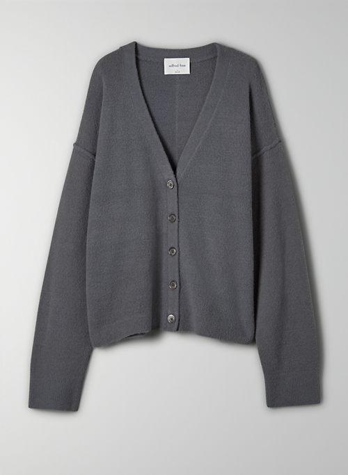 LEEDS CARDIGAN - Boxy-fit, V-neck chenille cardigan