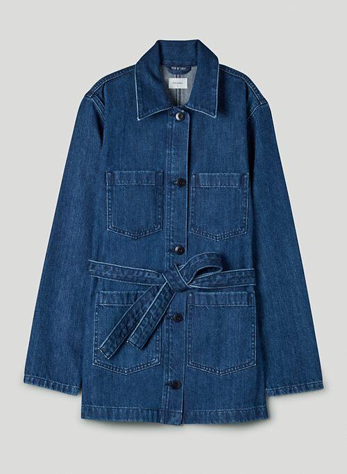 PORT JACKET - Belted denim jacket