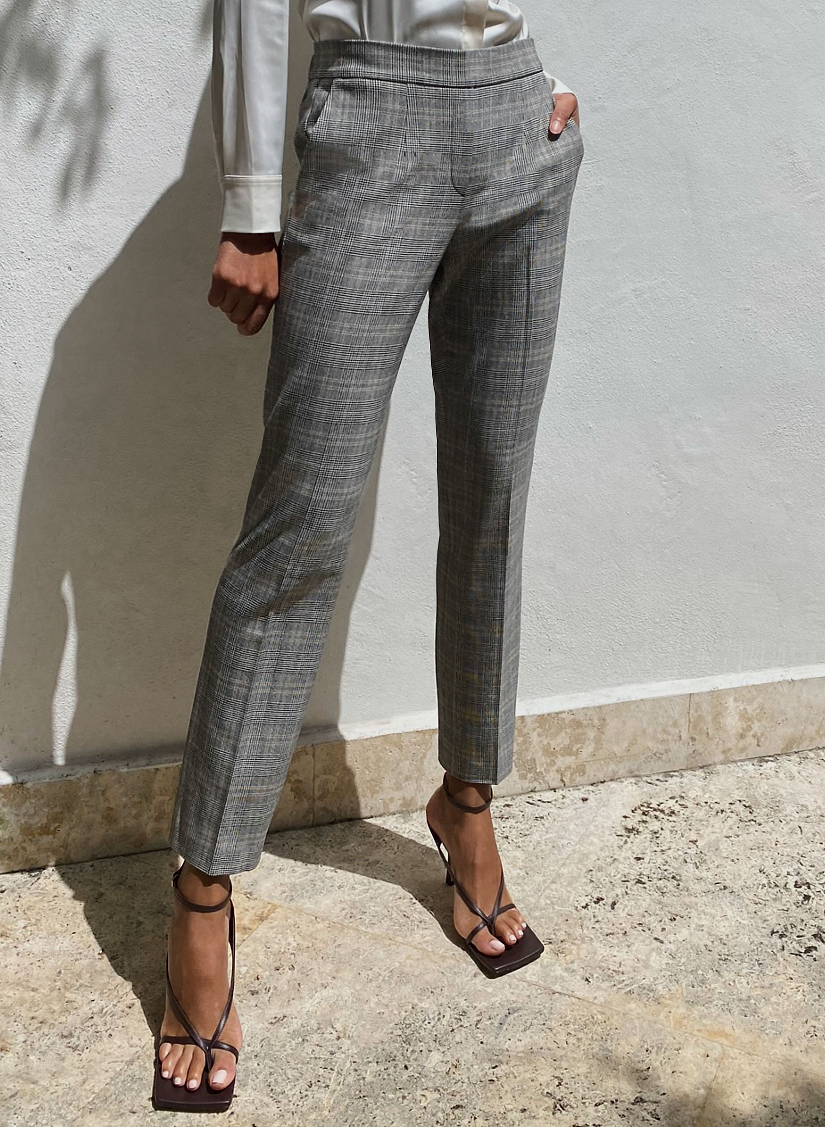 CONAN LONG PANT - Pull-on plaid trousers