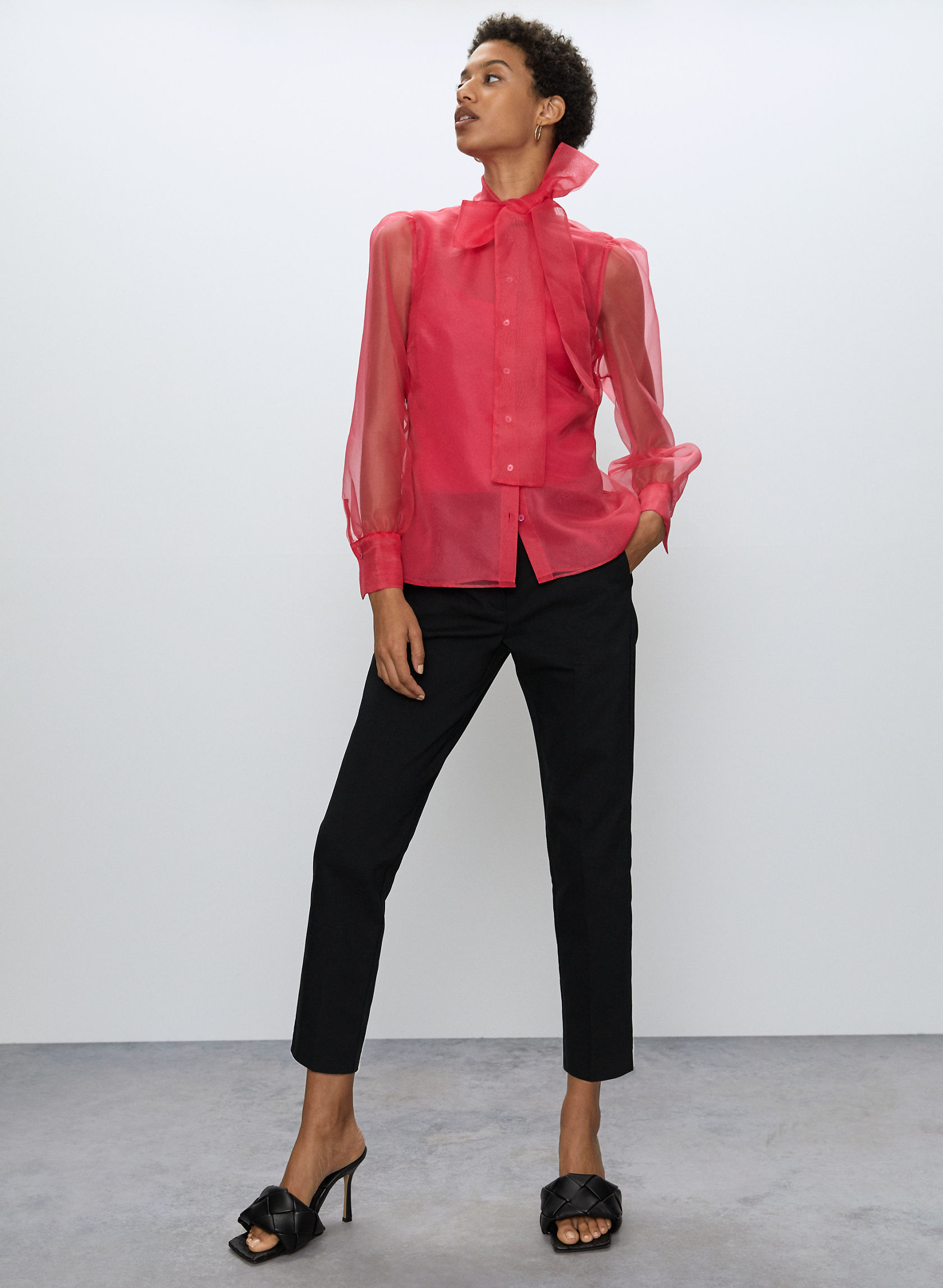 BOW BLOUSE - Long-sleeve, tie neck blouse